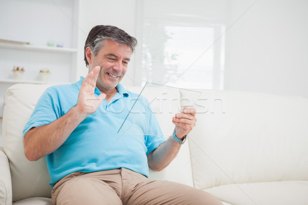 笑みを浮かべて 男 ビデオ チャット デジタル ストックフォト © wavebreak_media
