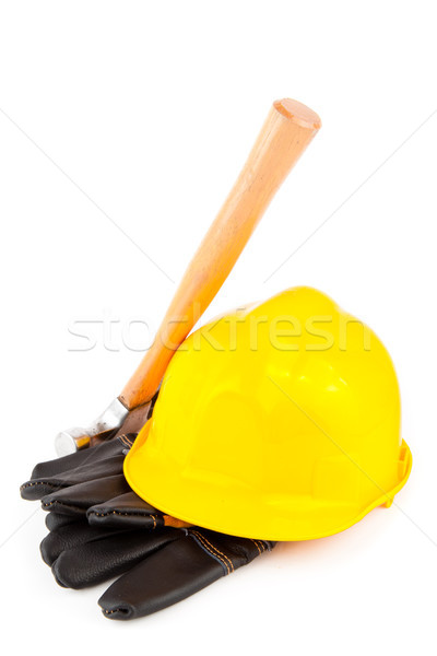 builder's gloves hammer and yellow hard hat on white background Stock photo © wavebreak_media