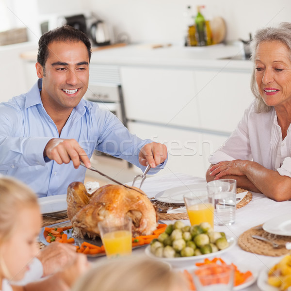 Man carving the thanksgiving turkey Stock photo © wavebreak_media