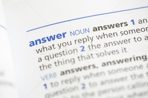 Cevap tanım sözlük mavi bilgi harfler Stok fotoğraf © wavebreak_media