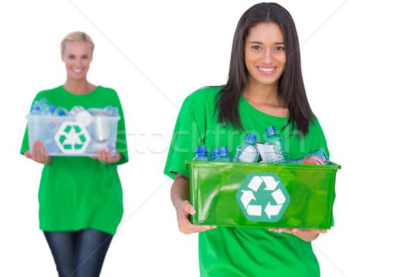 Kettő tart doboz nő boldog barátok Stock fotó © wavebreak_media