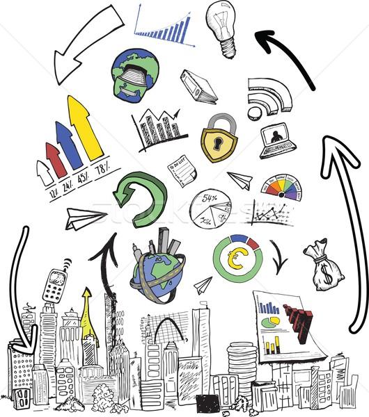 Negócio ilustrações branco computador cidade digital Foto stock © wavebreak_media