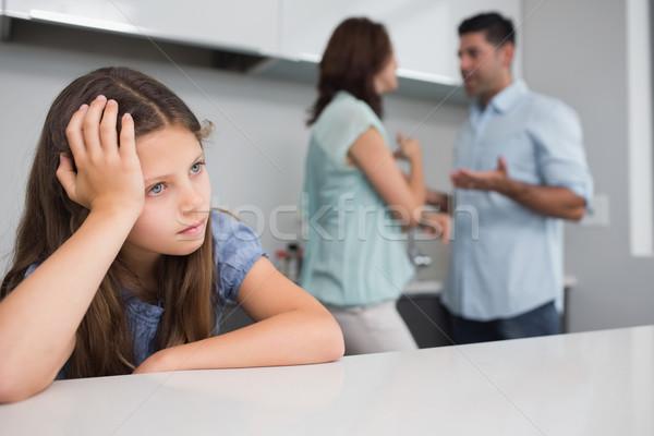 Closeup of a sad girl while parents quarreling Stock photo © wavebreak_media