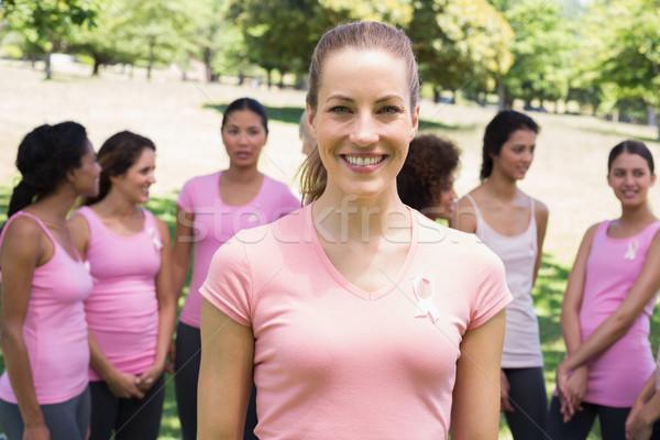 Vrouw borstkanker campagne portret glimlachende vrouw vrijwilligers Stockfoto © wavebreak_media