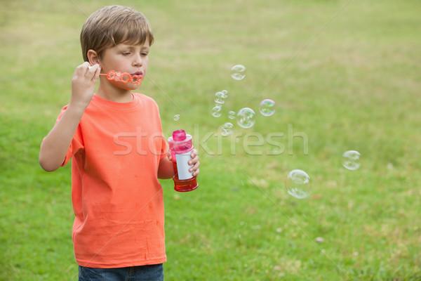 Erkek sabun köpüğü park portre küçük Stok fotoğraf © wavebreak_media