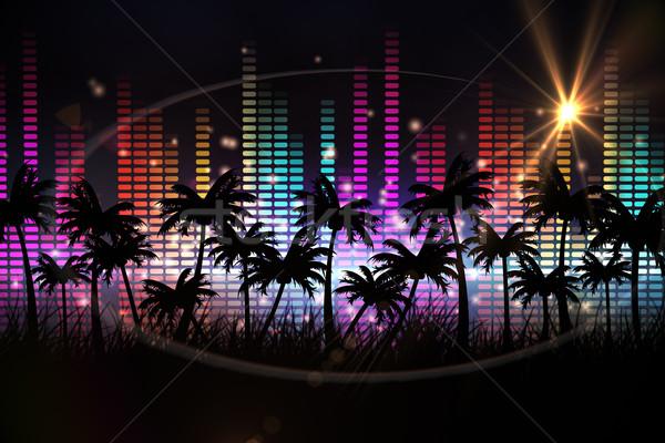 Digitaal gegenereerde palmboom kleurrijk ontwerp partij Stockfoto © wavebreak_media