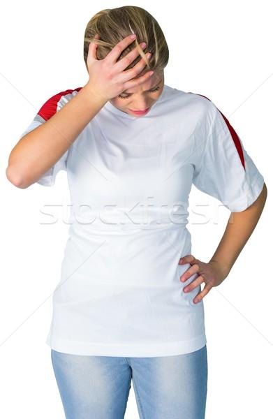 Teleurgesteld voetbal fan witte voetbal energie Stockfoto © wavebreak_media