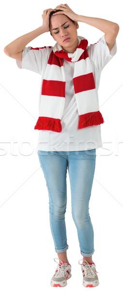 Stock fotó: Csalódott · futball · ventillátor · lefelé · néz · fehér · piros