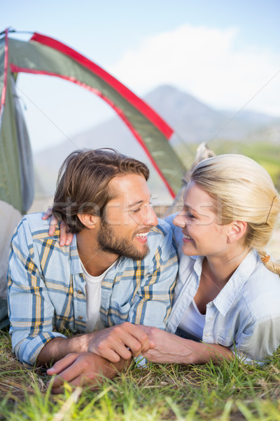 Attractive couple lying in their tent about to kiss Stock photo © wavebreak_media