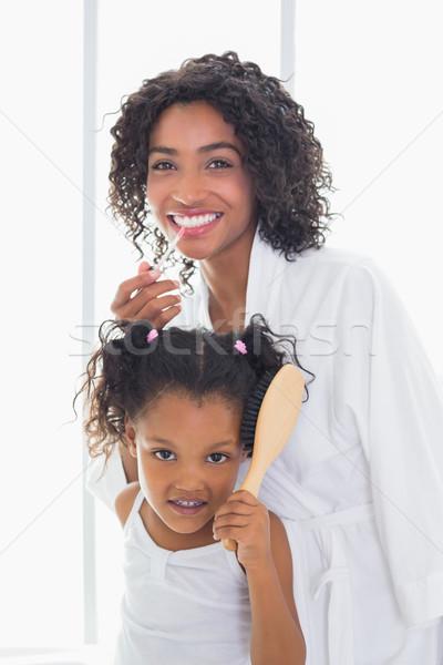Csinos anya kész lánygyermek otthon fürdőszoba Stock fotó © wavebreak_media