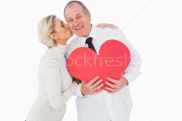 Ouder hartelijk paar Rood hartvorm Stockfoto © wavebreak_media