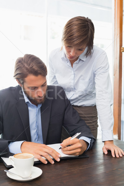 Stock photo: Business colleagues working on their break