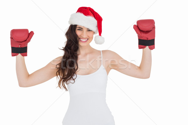 Esmer boks eldivenleri beyaz mutlu Stok fotoğraf © wavebreak_media