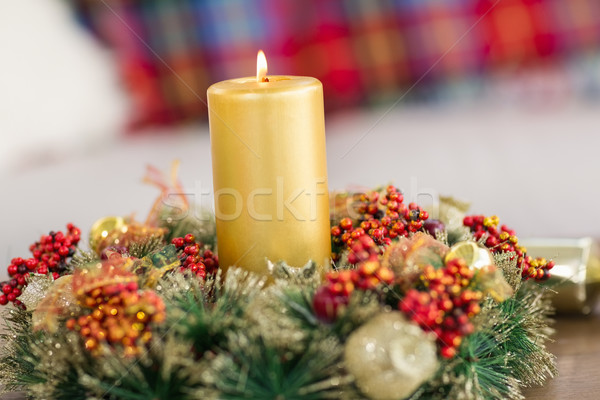 Close up of wreath with candles Stock photo © wavebreak_media