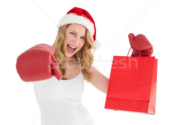 Guantoni da boxe shopping bag bianco shopping Foto d'archivio © wavebreak_media