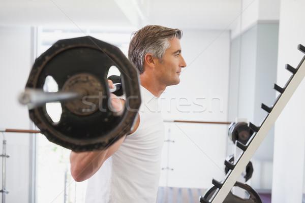 Uygun adam ağır halter spor salonu Stok fotoğraf © wavebreak_media