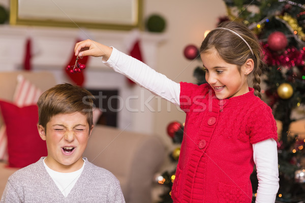 Kleines Mädchen halten Beeren über Brüder Kopf Stock foto © wavebreak_media
