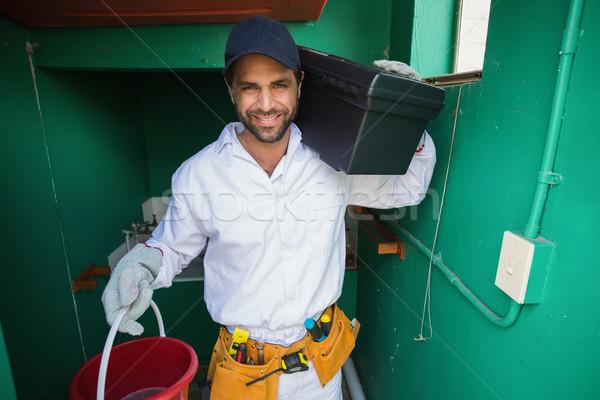 Pracownik budowlany uśmiechnięty kamery domu człowiek Zdjęcia stock © wavebreak_media