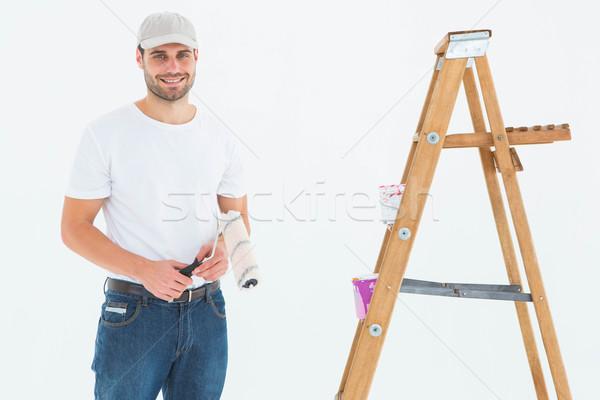 человека краской Постоянный лестнице портрет Сток-фото © wavebreak_media