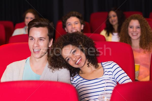 Fiatal pér néz film mozi lány férfi Stock fotó © wavebreak_media