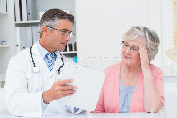 Doctor explaining prescriptions to tensed senior woman Stock photo © wavebreak_media