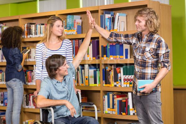 Diákok magas könyvtár főiskola könyv könyvek Stock fotó © wavebreak_media