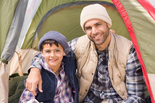 Filho pai tenda homem feliz retrato Foto stock © wavebreak_media