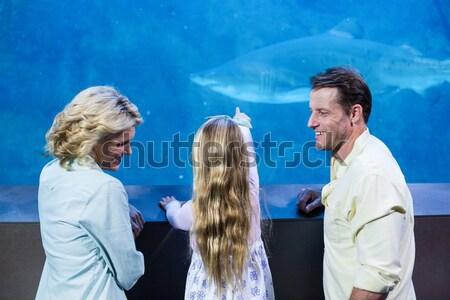 Familia feliz mirando peces tanque acuario hombre Foto stock © wavebreak_media
