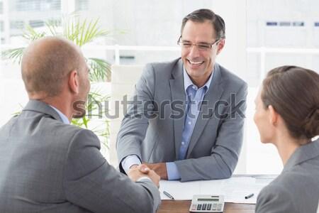 üzletember ügyfelek kéz iroda férfi boldog Stock fotó © wavebreak_media