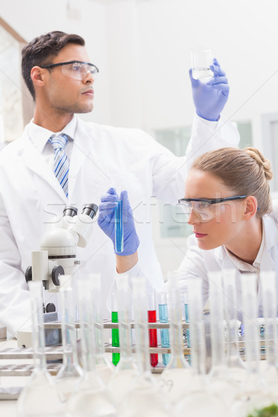 Focused scientists examining test tube and beaker Stock photo © wavebreak_media