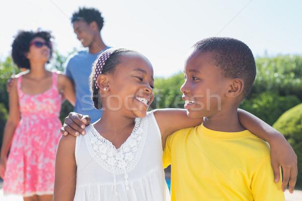 Boldog testvérek mosolyog egyéb kert otthon Stock fotó © wavebreak_media