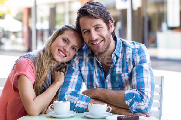 Glimlachend paar thee cafe voorjaar Stockfoto © wavebreak_media