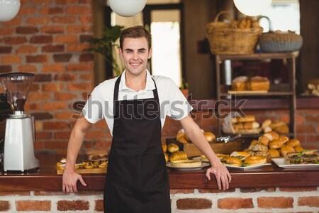 Güzel müşteri hareketli ödeme kahvehane Stok fotoğraf © wavebreak_media