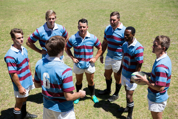 High angle view of rugby team discussing Stock photo © wavebreak_media