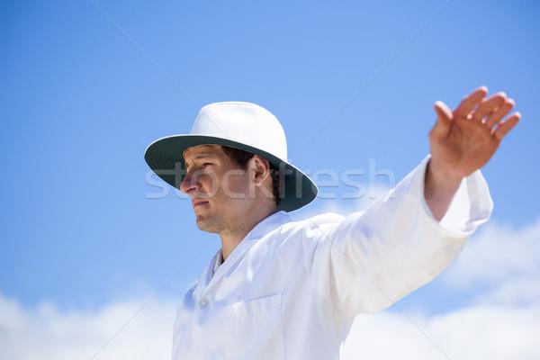 Krikett játékvezető határ alulról fotózva kilátás gyufa Stock fotó © wavebreak_media