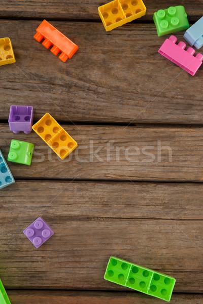 Műanyag építőkockák asztal kilátás fa asztal fa Stock fotó © wavebreak_media