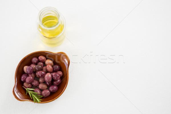 Marynowane oliwek oleju butelki biały żywności Zdjęcia stock © wavebreak_media