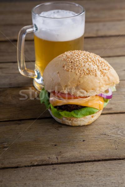 Burger стекла пива деревянный стол продовольствие таблице Сток-фото © wavebreak_media