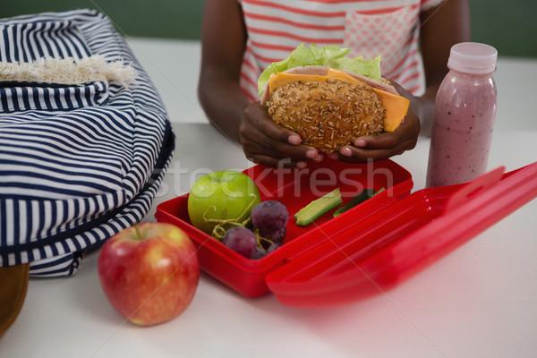 女学生 サンドイッチ 子 フルーツ 表 ボトル ストックフォト © wavebreak_media