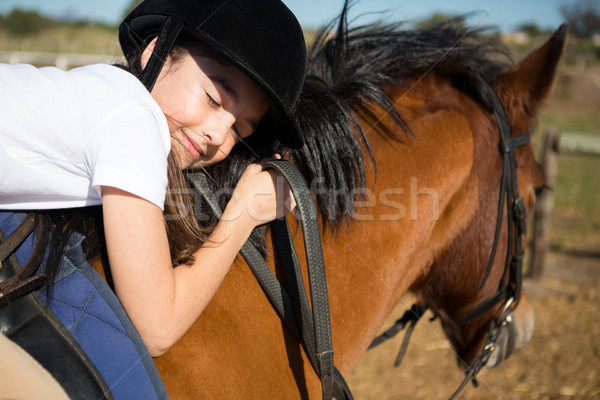 Bonitinho menina cavalo rancho Foto stock © wavebreak_media