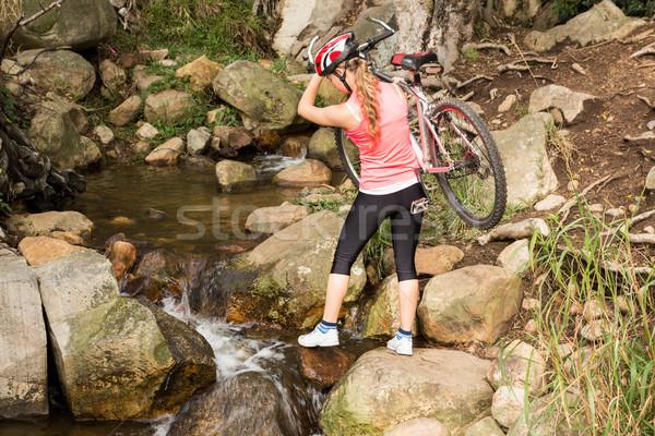 Atleta mountain bike stream natura Foto d'archivio © wavebreak_media
