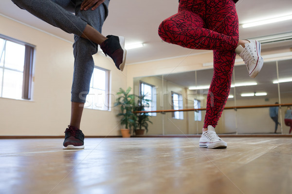 Low section of friends rehearsing dance on hardwood floor Stock photo © wavebreak_media