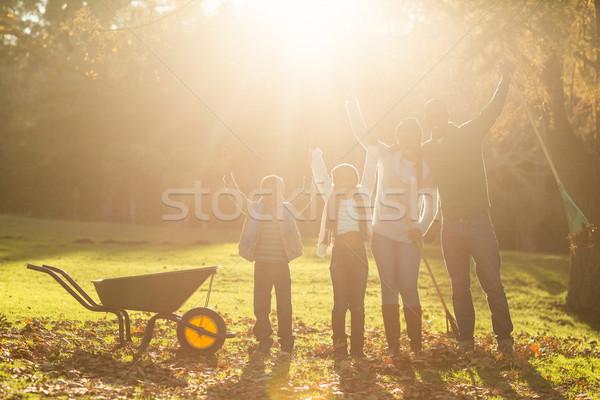 Fiatal mosolyog család pózol együtt karok a magasban Stock fotó © wavebreak_media