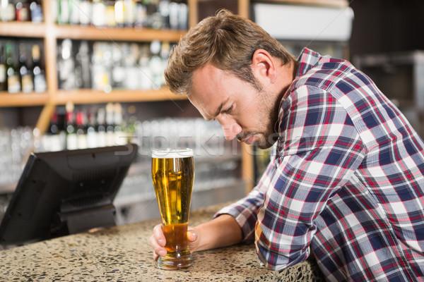 疲れ 男 ビール パブ 幸せ バー ストックフォト © wavebreak_media