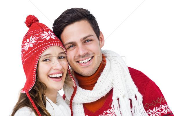 Mutlu çift kış elbise kafa Stok fotoğraf © wavebreak_media