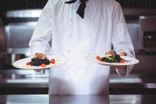 şef plakalar spagetti ticari mutfak Stok fotoğraf © wavebreak_media