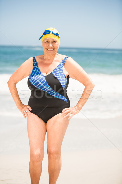 Senior woman with bathing cap at the beach Stock photo © wavebreak_media