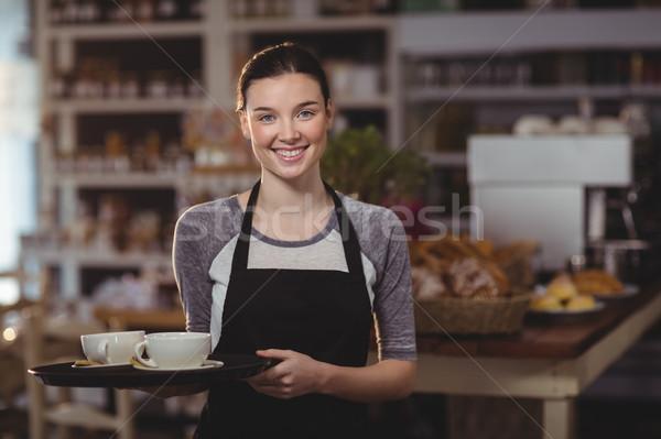 портрет официантка лоток кофейные чашки кафе Сток-фото © wavebreak_media