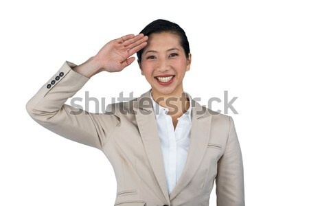 Stockfoto: Zakenvrouw · witte · portret · gelukkig · leuk · bal