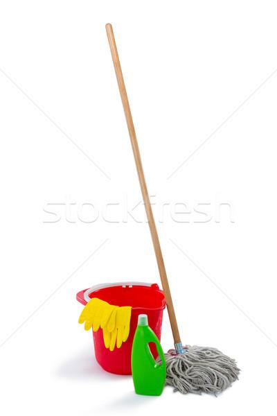 クリーニング製品 バケット 木材 緑 ボトル 赤 ストックフォト © wavebreak_media